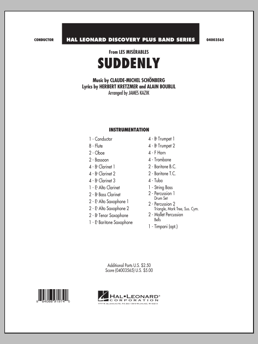 James Kazik Suddenly (from Les Miserables) - Conductor Score (Full Score) sheet music notes and chords. Download Printable PDF.