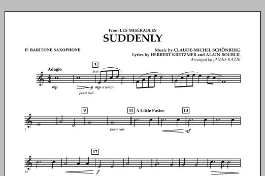James Kazik Suddenly (from Les Miserables) - Eb Baritone Saxophone sheet music notes and chords. Download Printable PDF.