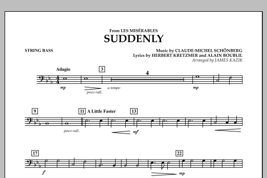 James Kazik Suddenly (from Les Miserables) - String Bass sheet music notes and chords. Download Printable PDF.