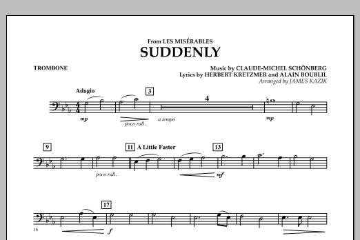 James Kazik Suddenly (from Les Miserables) - Trombone sheet music notes and chords. Download Printable PDF.