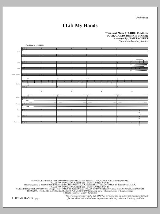 James Koerts I Lift My Hands - Full Score sheet music notes printable PDF score