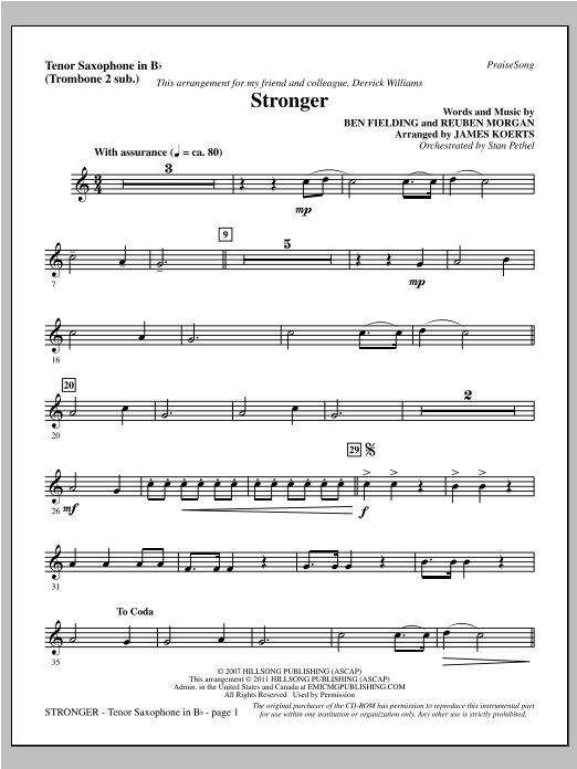 James Koerts Stronger - Tenor Sax (sub. Tbn 2) sheet music notes printable PDF score
