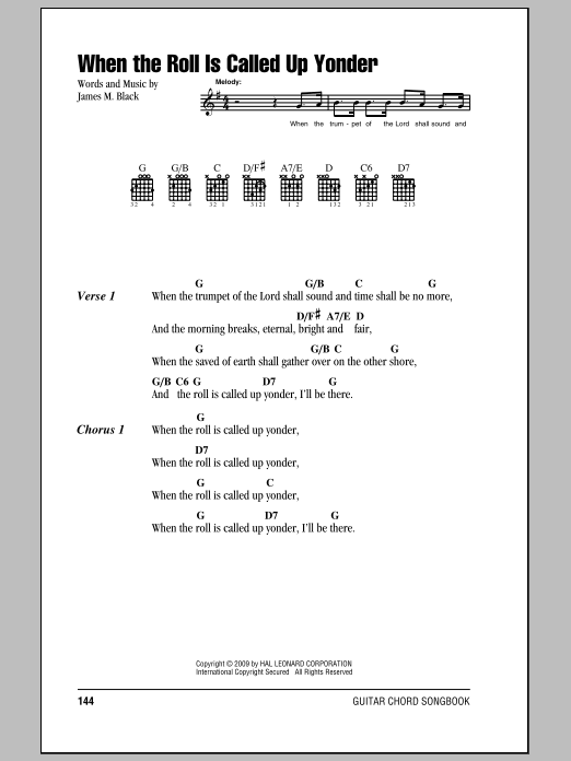 James M. Black When The Roll Is Called Up Yonder sheet music notes and chords. Download Printable PDF.