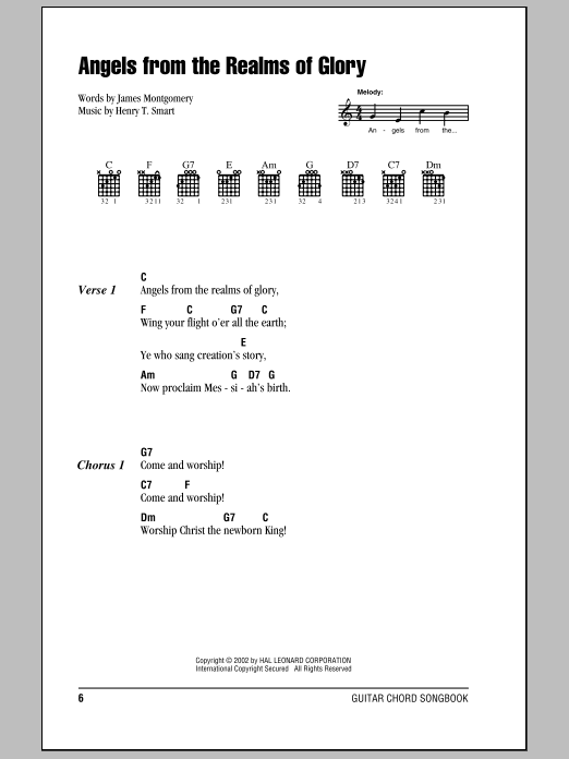 James Montgomery Angels From The Realms Of Glory sheet music notes and chords. Download Printable PDF.