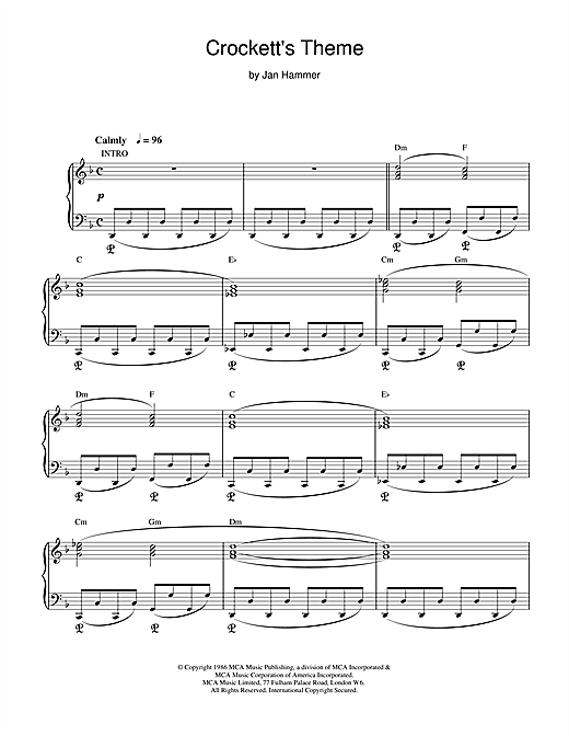 Jan Hammer Crockett's Theme (from Miami Vice) sheet music notes printable PDF score