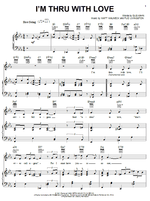 Jane Monheit I'm Thru With Love sheet music notes and chords. Download Printable PDF.