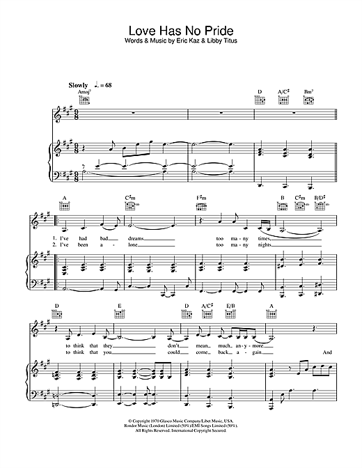 Jane Monheit Love Has No Pride sheet music notes and chords. Download Printable PDF.