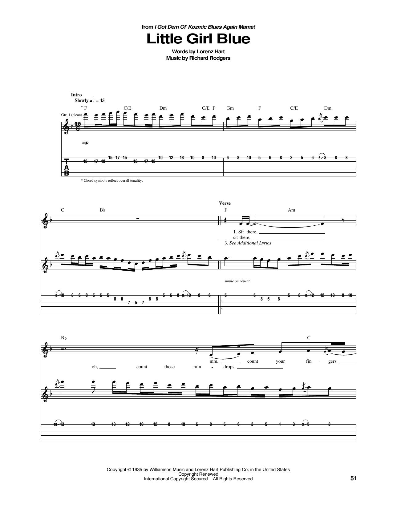 Janis Joplin Little Girl Blue sheet music notes and chords. Download Printable PDF.