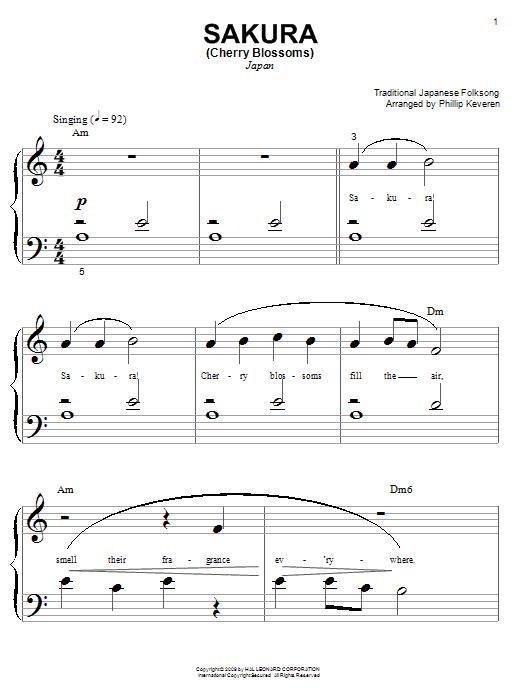 Japanese Folksong Sakura (Cherry Blossoms) sheet music notes and chords. Download Printable PDF.