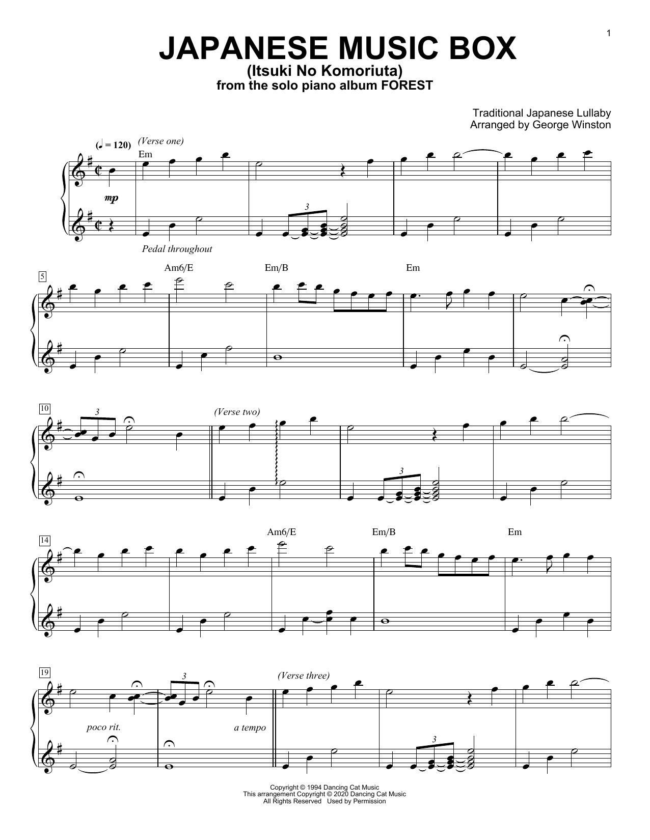 George Winston Japanese Music Box (Itsuki No Komoriuta) sheet music notes printable PDF score