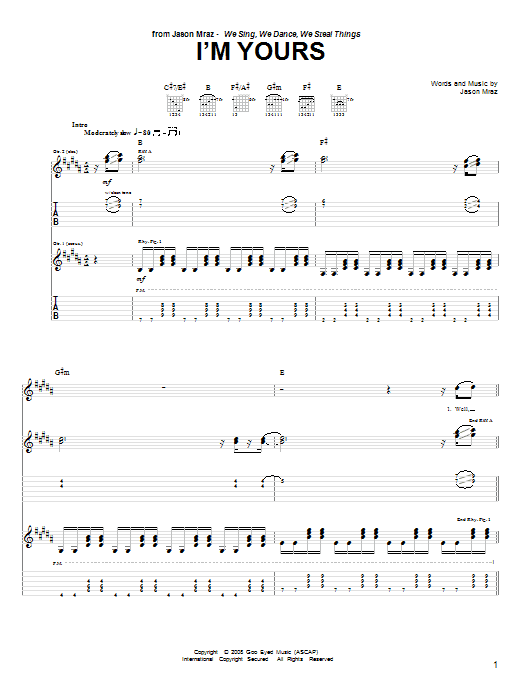 Jason Mraz I'm Yours sheet music notes and chords. Download Printable PDF.