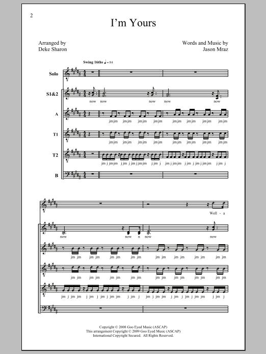 Jason Mraz I'm Yours (arr. Deke Sharon) sheet music notes and chords. Download Printable PDF.