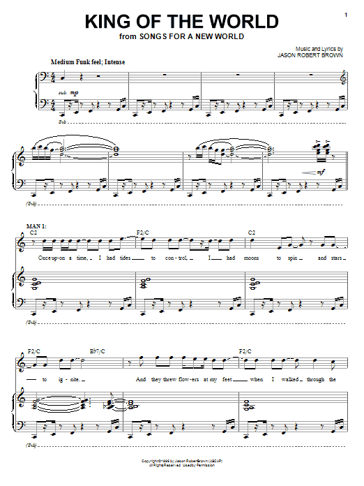 Jason Robert Brown King Of The World (from Songs for a New World) sheet music notes and chords. Download Printable PDF.