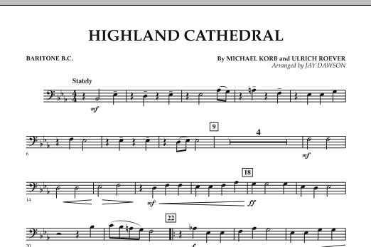 Jay Dawson Highland Cathedral - Baritone B.C. sheet music notes and chords. Download Printable PDF.
