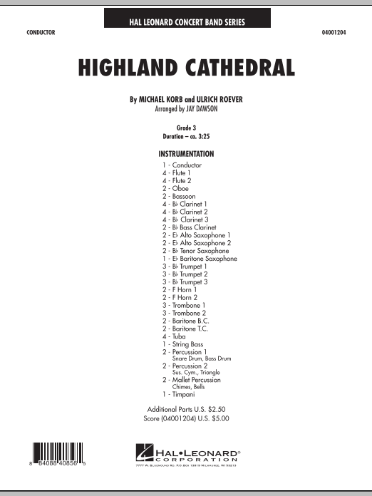 Jay Dawson Highland Cathedral - Conductor Score (Full Score) sheet music notes and chords. Download Printable PDF.