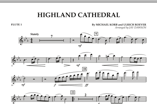 Jay Dawson Highland Cathedral - Flute 1 sheet music notes and chords. Download Printable PDF.