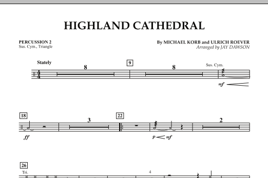 Jay Dawson Highland Cathedral - Percussion 2 sheet music notes and chords. Download Printable PDF.