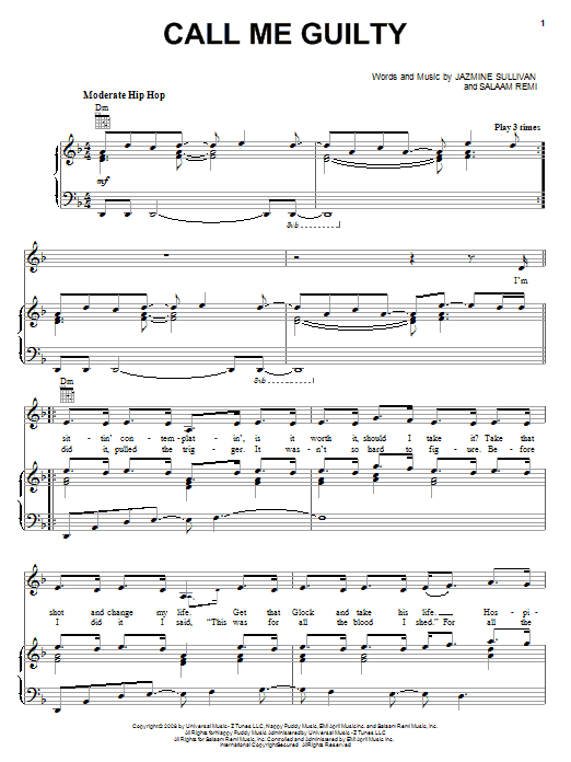 Jazmine Sullivan Call Me Guilty sheet music notes and chords - download printable PDF.