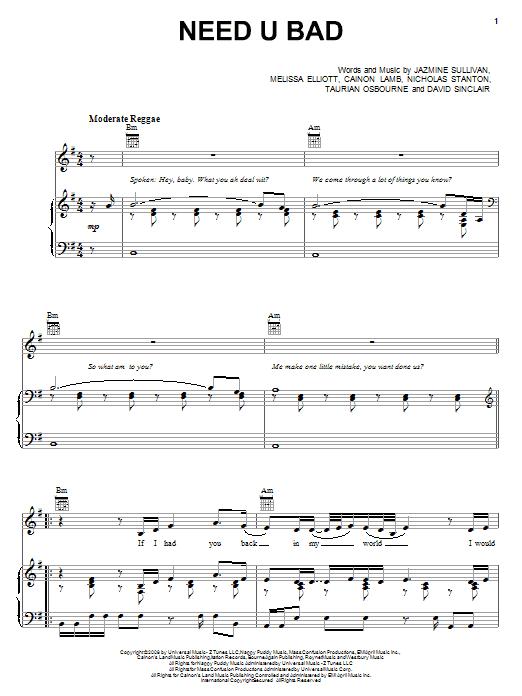 Jazmine Sullivan Need U Bad sheet music notes and chords. Download Printable PDF.
