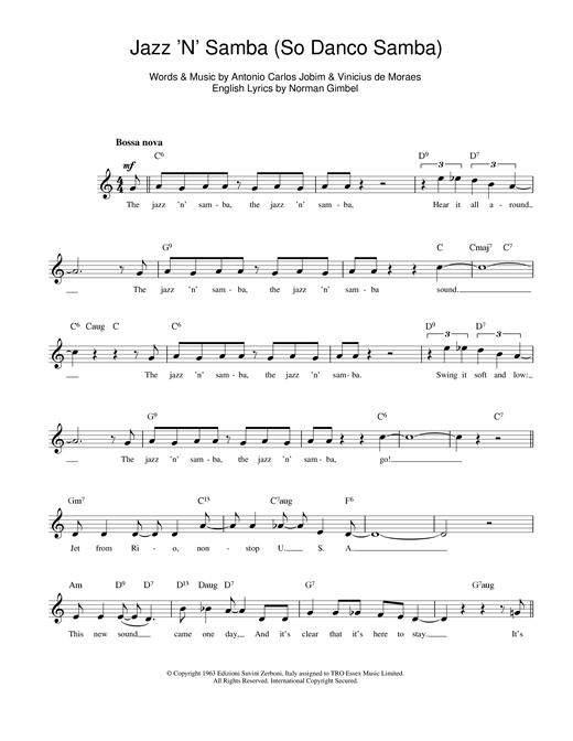Antonio Carlos Jobim Jazz 'n' Samba sheet music notes printable PDF score