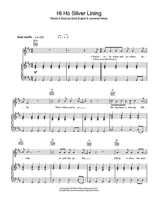 Jeff Beck Hi Ho Silver Lining sheet music notes and chords - download printable PDF.