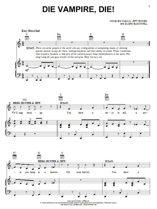 Jeff Bowen Die Vampire, Die! sheet music notes and chords - download printable PDF.