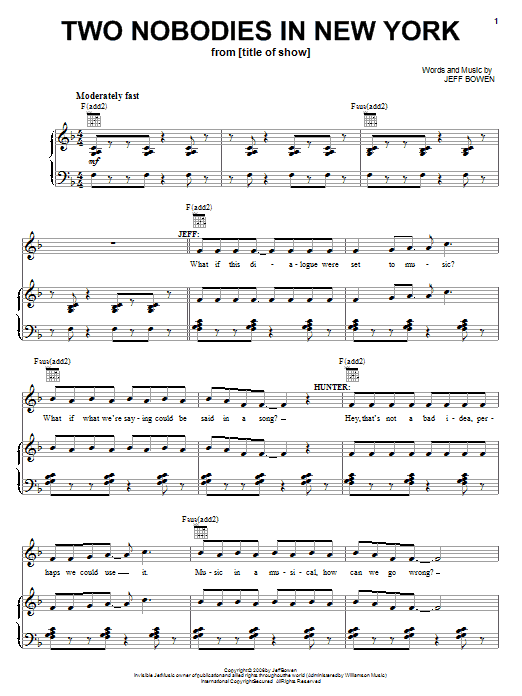 Jeff Bowen Two Nobodies In New York sheet music notes and chords. Download Printable PDF.