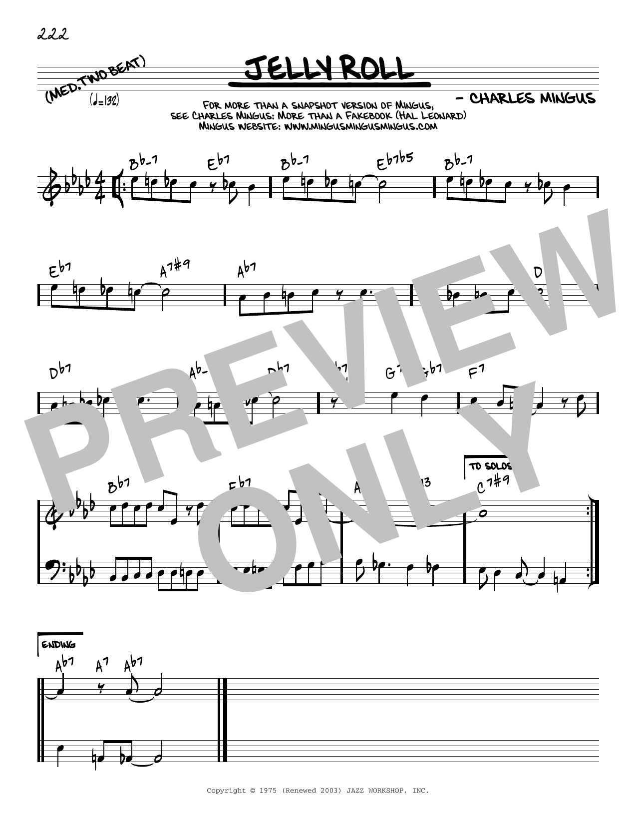 Charles Mingus Jelly Roll [Reharmonized version] (arr. Jack Grassel) sheet music notes printable PDF score