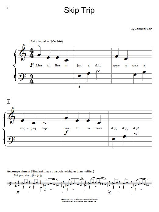 Jennifer Linn Skip Trip sheet music notes and chords. Download Printable PDF.