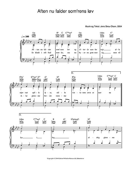 Jens Skou Olsen Aften Nu Falder Som'rens Løv sheet music notes printable PDF score