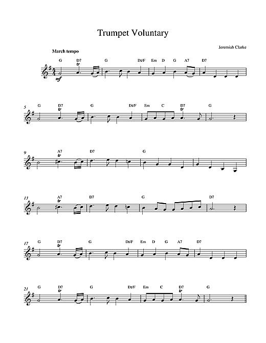 Jeremiah Clarke Trumpet Voluntary sheet music notes printable PDF score