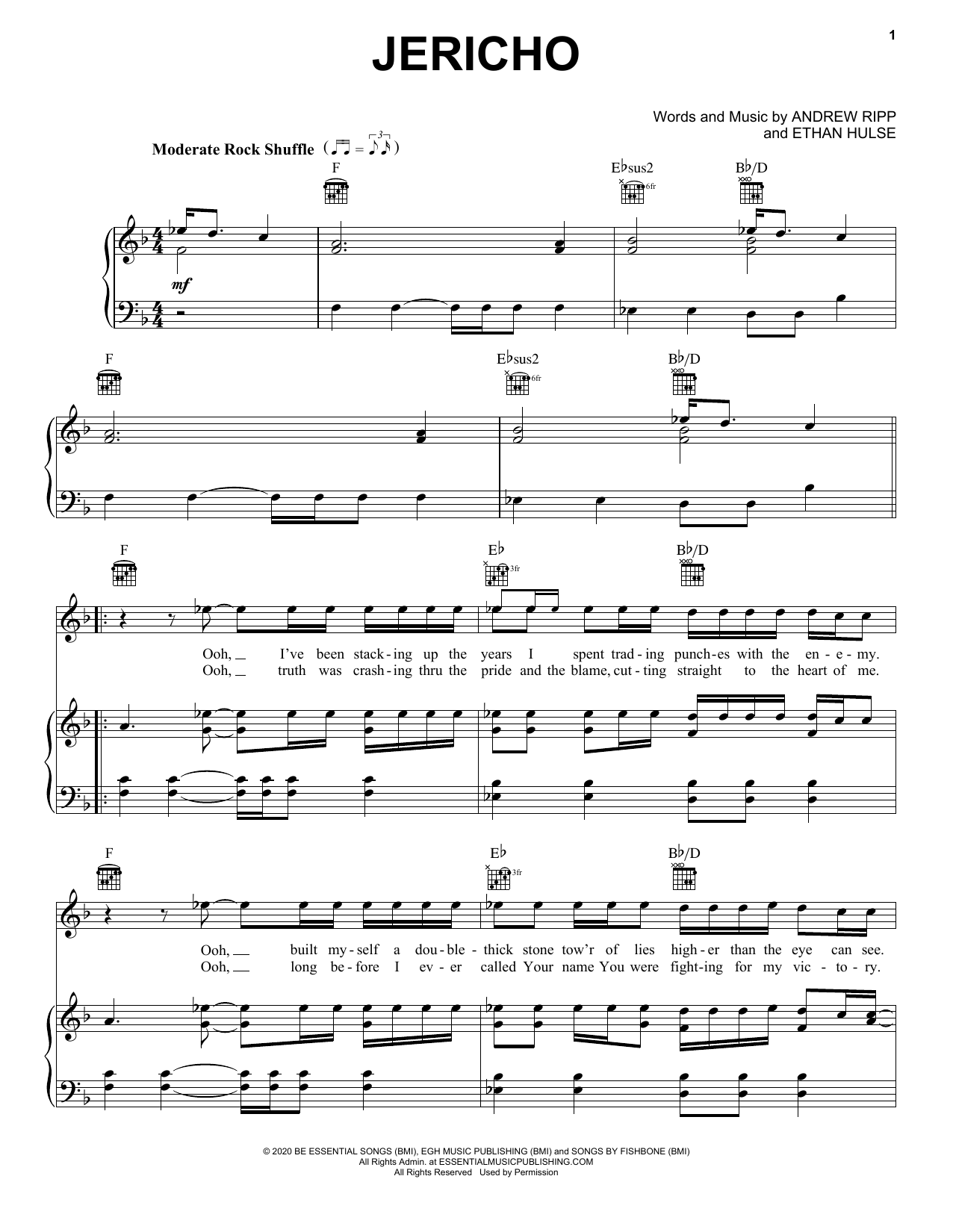 Andrew Ripp Jericho sheet music notes printable PDF score