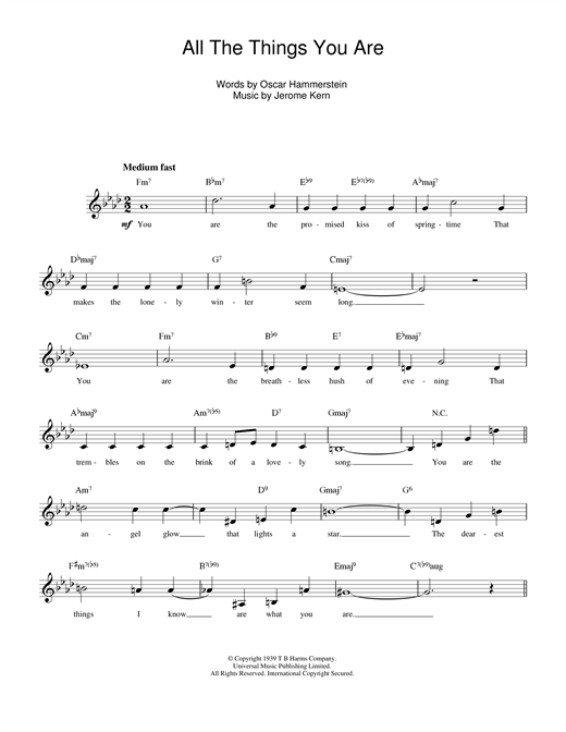 Jerome Kern All The Things You Are sheet music notes and chords - download printable PDF.