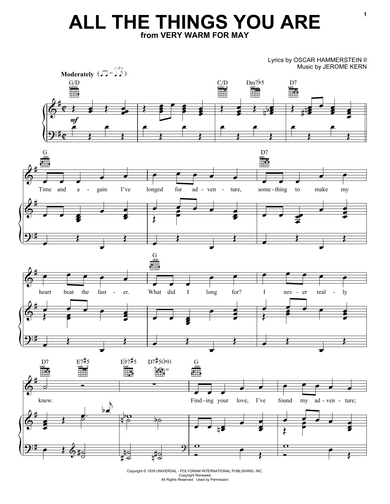 Jerome Kern All The Things You Are sheet music notes printable PDF score