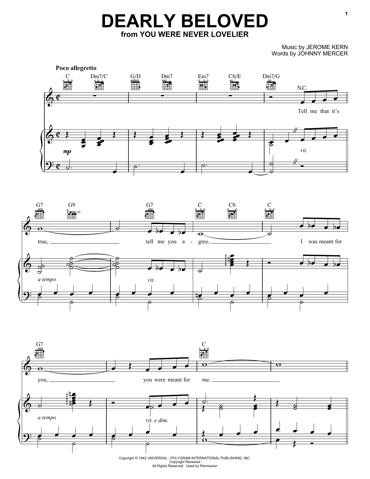 Jerome Kern Dearly Beloved sheet music notes and chords. Download Printable PDF.