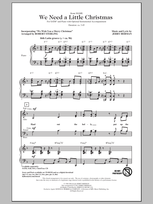 Jerry Herman We Need A Little Christmas sheet music notes and chords. Download Printable PDF.