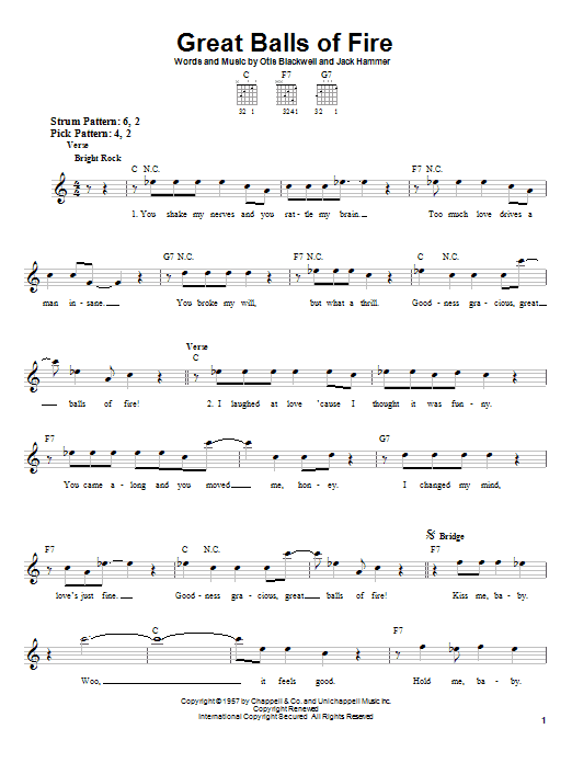 Jerry Lee Lewis Great Balls Of Fire sheet music notes printable PDF score