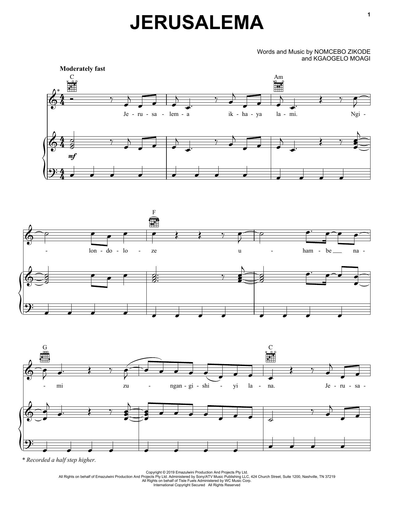 Master KG Jerusalema (feat. Nomcebo Zikode) sheet music notes printable PDF score