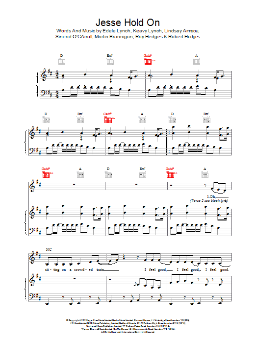 B*Witched Jesse Hold On sheet music notes printable PDF score