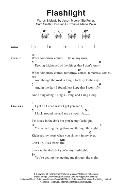 Jessie J Flashlight (from Pitch Perfect 2) sheet music notes and chords. Download Printable PDF.