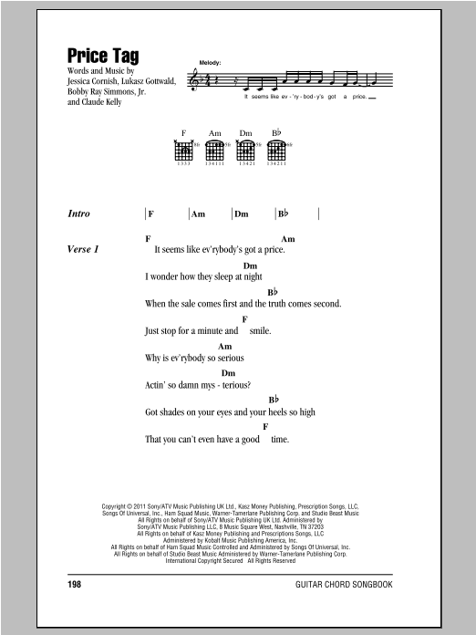 Jessie J Price Tag sheet music notes and chords. Download Printable PDF.