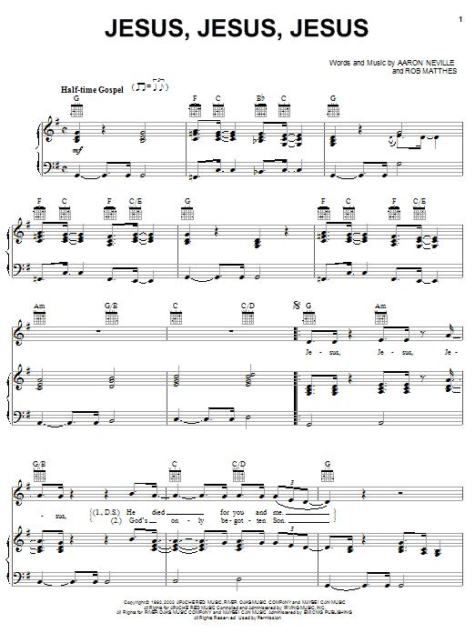 Aaron Neville Jesus, Jesus, Jesus sheet music notes printable PDF score