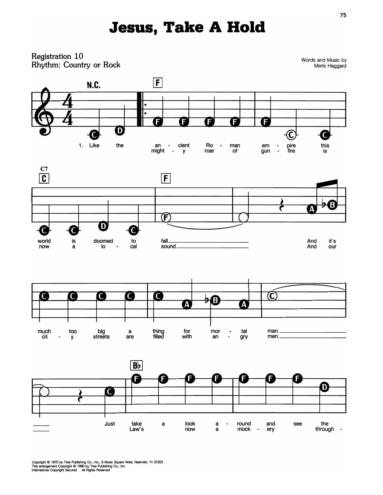 Merle Haggard Jesus, Take A Hold sheet music notes printable PDF score
