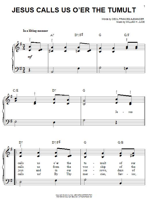 William H. Jude Jesus Calls Us O'er The Tumult sheet music notes printable PDF score