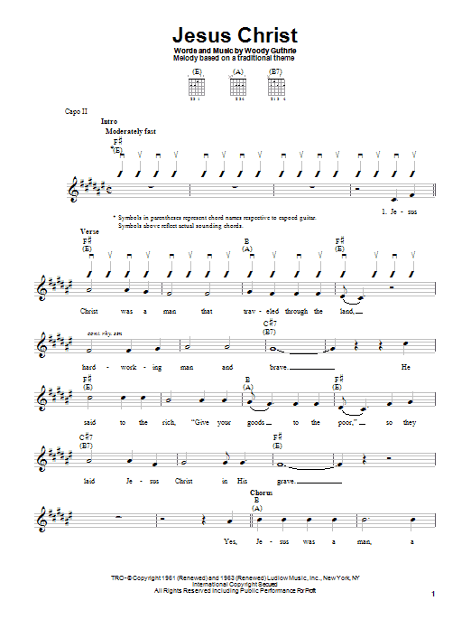 Woody Guthrie Jesus Christ sheet music notes printable PDF score