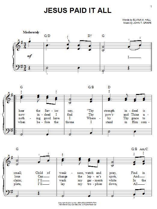 John T. Grape Jesus Paid It All sheet music notes printable PDF score