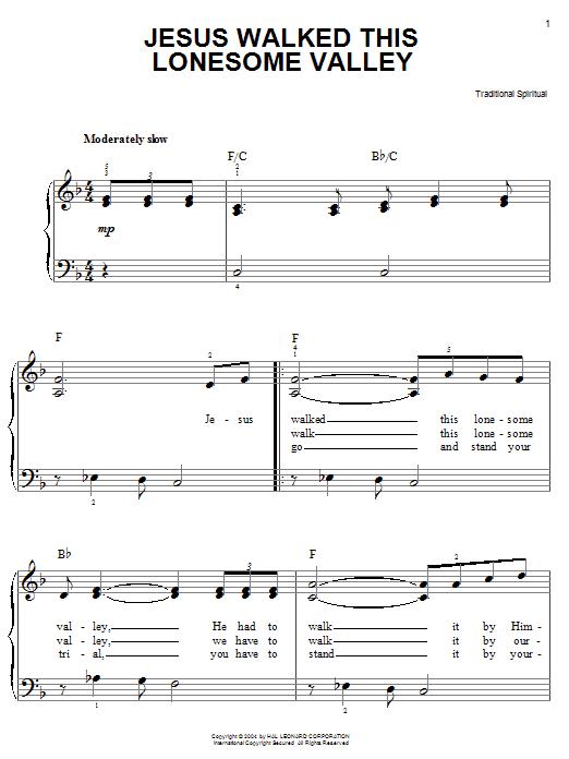 African-American Spiritual Jesus Walked This Lonesome Valley (Myers) sheet music notes printable PDF score