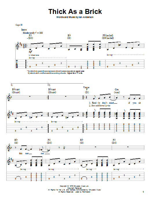 Jethro Tull Thick As A Brick sheet music notes and chords. Download Printable PDF.