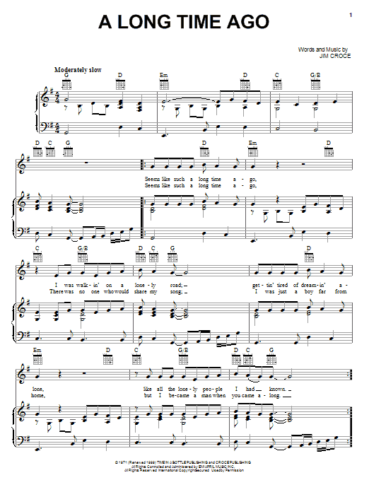 Jim Croce A Long Time Ago sheet music notes and chords. Download Printable PDF.