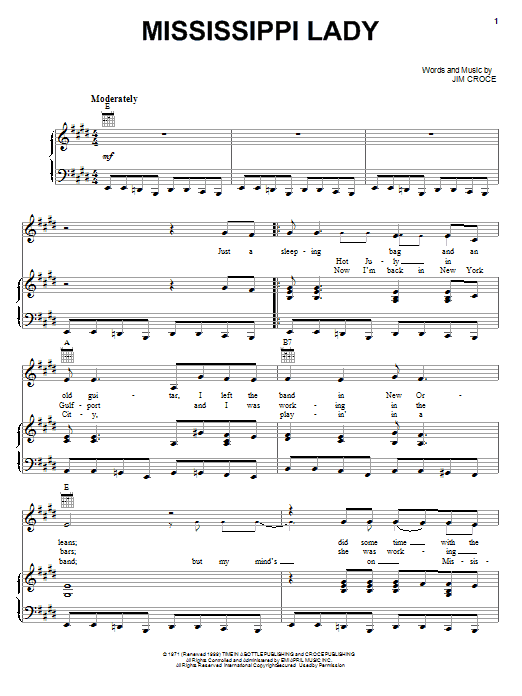 Jim Croce Mississippi Lady sheet music notes and chords. Download Printable PDF.